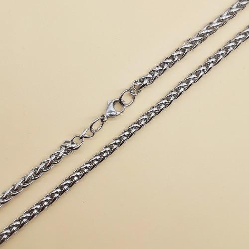 Цепь из нержавеющей стали плетение колосок 60 см/4 мм