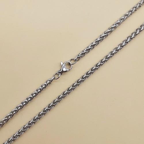Цепочка стальная плетение колосок 60 см/3 мм