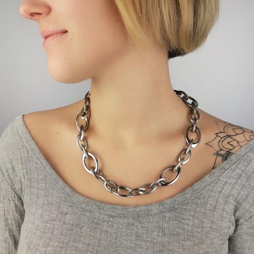 Оригинальная женская стальная цепь с крупными звеньями 52 см/2 см