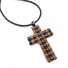 Кулон-крест из стали и дерева для мужчин
