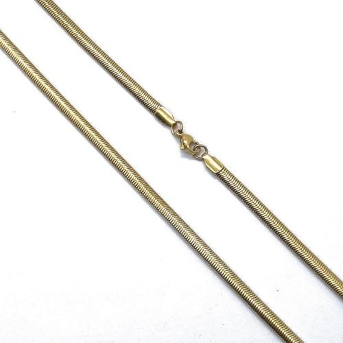 Золотистая женская цепочка плоский снейк 50/60 см, 5 мм