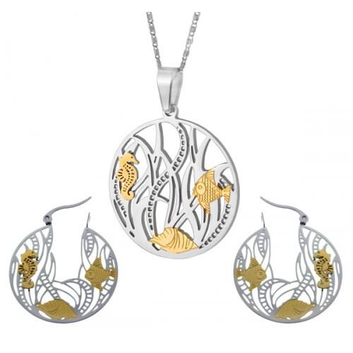 Гарнитур элитной бижутерии (кулон и круглые серьги) Океан