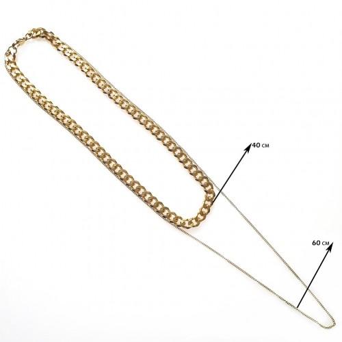 Двойная цепочка из медицинской стали панцирное плетение 40/60 см