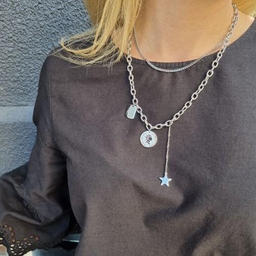 Крутое женское украшение на шею из стали для женщин с подвесками Звезда, Медальон