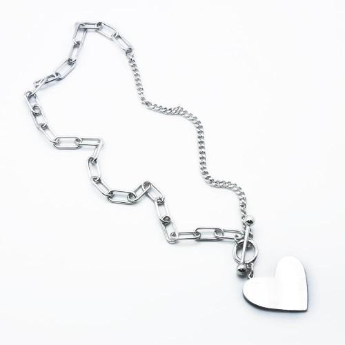 Стальная женская подвеска Сердце с комбинированной цепочкой