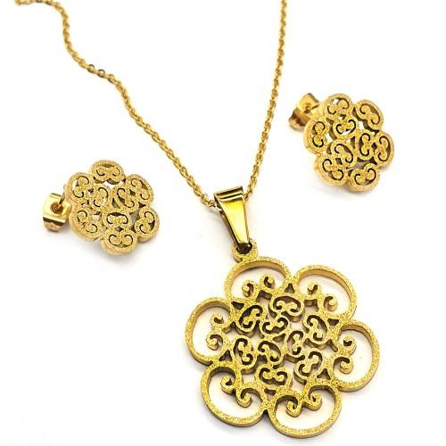 Вечерний набор украшений серьги и подвеска Золотой цветок