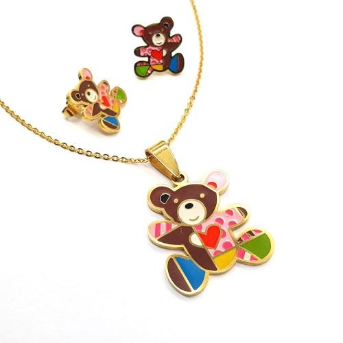 Детский набор из ювелирного сплава сережки и кулон Три медведя