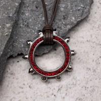 Подвеска Swarovski Crystal женская с красными кристаллами