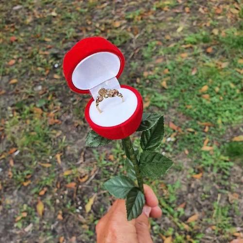 Подставка-упаковка для колец в виде розы