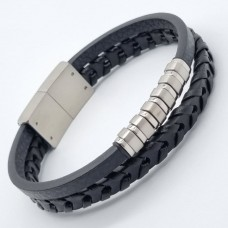 Кожаный мужской комбинированный браслет с стальными вставками Джонн