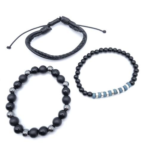 Набор из трех мужских браслетов Голубая Лагуна