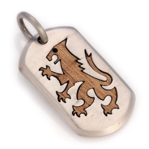 Подвеска жетон с деревянной вставкой лев LIONHEART